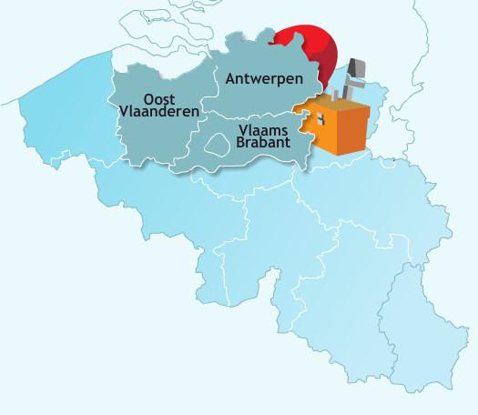 werkgebied: Oost-Vlaanderen, Vlaams-Brabant, Antwerpen